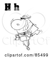 Royalty Free RF Clipart Illustration Of An Outlined Hippo With Letters H by Hit Toon