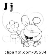 Royalty Free RF Clipart Illustration Of An Outlined Rabbit With Letters J