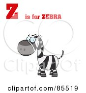 Royalty Free RF Clipart Illustration Of A Happy Zebra With Z Is For Zebra Text by Hit Toon