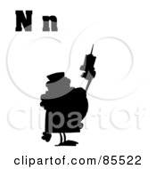 Royalty Free RF Clipart Illustration Of A Silhouetted Nurse With Letters N by Hit Toon