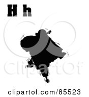 Royalty Free RF Clipart Illustration Of A Silhouetted Hippo With Letters H by Hit Toon