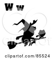 Royalty Free RF Clipart Illustration Of A Silhouetted Witch With Letters W by Hit Toon