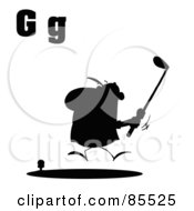 Royalty Free RF Clipart Illustration Of A Silhouetted Male Golfer With Letters G