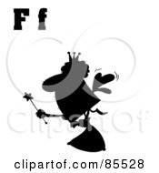 Royalty Free RF Clipart Illustration Of A Silhouetted Fairy With Letters F