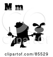 Royalty Free RF Clipart Illustration Of A Silhouetted Magician With Letters M by Hit Toon