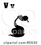 Royalty Free RF Clipart Illustration Of A Silhouetted Snake With Letters V by Hit Toon