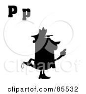 Royalty Free RF Clipart Illustration Of A Silhouetted Cop With Letters C