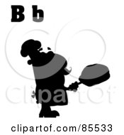 Royalty Free RF Clipart Illustration Of A Silhouetted Male Baker With Letters B by Hit Toon