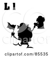 Royalty Free RF Clipart Illustration Of A Silhouetted Leprechaun With Letters L
