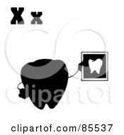 Royalty Free RF Clipart Illustration Of A Silhouetted Tooth Holding An Xray With Letters X