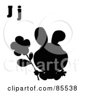 Royalty Free RF Clipart Illustration Of A Silhouetted Rabbit With Letters J