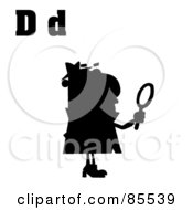 Royalty Free RF Clipart Illustration Of A Silhouetted Detective With Letters D by Hit Toon