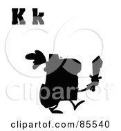 Royalty Free RF Clipart Illustration Of A Silhouetted Knight With Letters K by Hit Toon
