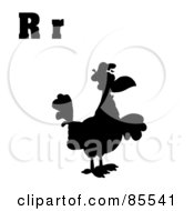 Royalty Free RF Clipart Illustration Of A Silhouetted Rooster With Letters R by Hit Toon