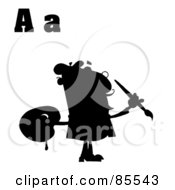 Royalty Free RF Clipart Illustration Of A Silhouetted Male Artist With Letters A by Hit Toon