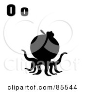 Royalty Free RF Clipart Illustration Of A Silhouetted Octopus With Letters O by Hit Toon