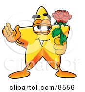 Star Mascot Cartoon Character Holding A Red Rose On Valentines Day