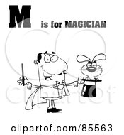 Royalty Free RF Clipart Illustration Of An Outlined Magician With M Is For Magician Text by Hit Toon