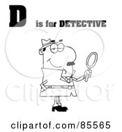 Royalty Free RF Clipart Illustration Of An Outlined Detective With D Is For Detective Text by Hit Toon