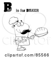Royalty Free RF Clipart Illustration Of An Outlined Male Baker With B Is For Baker Text by Hit Toon