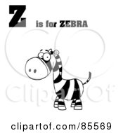 Royalty Free RF Clipart Illustration Of A Black And White Zebra With Z Is For Zebra Text by Hit Toon