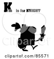 Royalty Free RF Clipart Illustration Of A Silhouetted Knight With K Is For Knight Text by Hit Toon