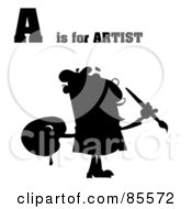 Royalty Free RF Clipart Illustration Of A Silhouetted Male Artist With A Is For Artist Text