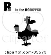 Royalty Free RF Clipart Illustration Of A Silhouetted Rooster With R Is For Rooster Text by Hit Toon