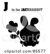 Royalty Free RF Clipart Illustration Of A Silhouetted Rabbit With J Is For Jackrabbit Text