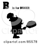 Royalty Free RF Clipart Illustration Of A Silhouetted Male Baker With B Is For Baker Text by Hit Toon