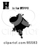 Royalty Free RF Clipart Illustration Of A Silhouetted Hippo With H Is For Hippo Text by Hit Toon