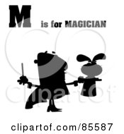 Royalty Free RF Clipart Illustration Of A Silhouetted Magician With M Is For Magician Text by Hit Toon