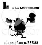 Royalty Free RF Clipart Illustration Of A Silhouetted Leprechaun With L Is For Leprechaun Text