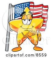 Clipart Picture Of A Star Mascot Cartoon Character Pledging Allegiance To An American Flag by Toons4Biz