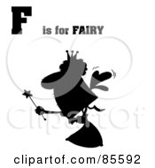 Royalty Free RF Clipart Illustration Of A Silhouetted Fairy With F Is For Fairy Text