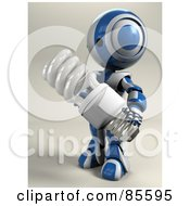 Royalty Free RF Clipart Illustration Of A 3d AO Maru Robot Holding A Spiral Electric Light Bulb by Leo Blanchette