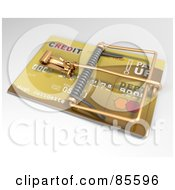 Royalty Free RF Clipart Illustration Of An Angled View Of A 3d Golden Credit Card Trap by Leo Blanchette