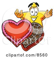 Star Mascot Cartoon Character With An Open Box Of Valentines Day Chocolate Candies