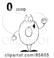 Royalty Free RF Clipart Illustration Of A Friendly Outlined Number 0 Zero Guy With Text