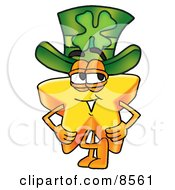 Star Mascot Cartoon Character Wearing A Saint Patricks Day Hat With A Clover On It