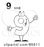 Royalty Free RF Clipart Illustration Of A Friendly Outlined Number 9 Nine Guy With Text by Hit Toon