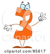 Royalty Free RF Clipart Illustration Of A Friendly Orange Number 3 Three Guy by Hit Toon