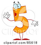 Royalty Free RF Clipart Illustration Of A Friendly Orange Number 5 Five Guy