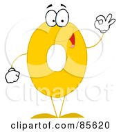 Royalty Free RF Clipart Illustration Of A Friendly Number 0 Zero Guy