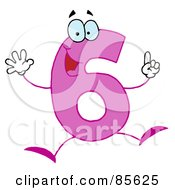 Royalty Free RF Clipart Illustration Of A Friendly Pink Number 6 Six Guy