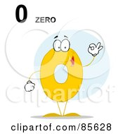 Royalty Free RF Clipart Illustration Of A Friendly Yellow Number 0 Zero Guy With Text by Hit Toon