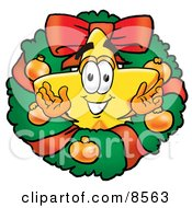 Star Mascot Cartoon Character In The Center Of A Christmas Wreath