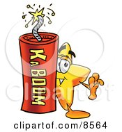 Clipart Picture Of A Star Mascot Cartoon Character Standing With A Lit Stick Of Dynamite by Toons4Biz