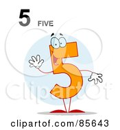 Royalty Free RF Clipart Illustration Of A Friendly Number 5 Five Guy With Text