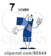 Royalty Free RF Clipart Illustration Of A Friendly Blue Number 7 Seven Guy With Text by Hit Toon